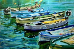 David McHolm, Fishing Boats at Nice, 2018, Oil on Canvas, 24x36in, Value: $1200