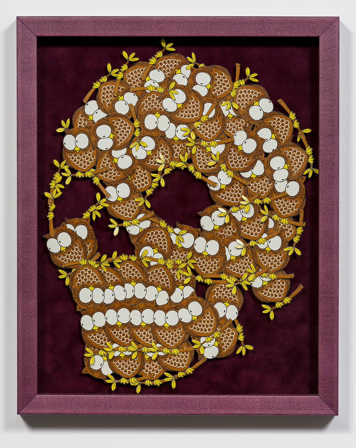 "Lucien Durey, ""Apparition IV"", 2017, Playing Card Collage on Flocked Mat Board, 12.75 x 15.75, Framed. Estimate: $700."