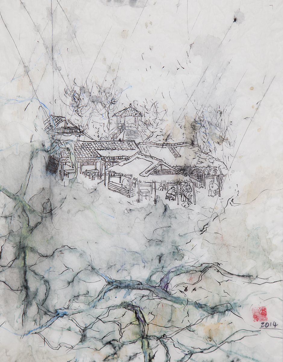 "Tony Yin Tak Chu, ""Rainy Day in Jiangnan"", 2014, Mixed Media on Tracing Paper, 20 x 16 inches. Estimate: $400"