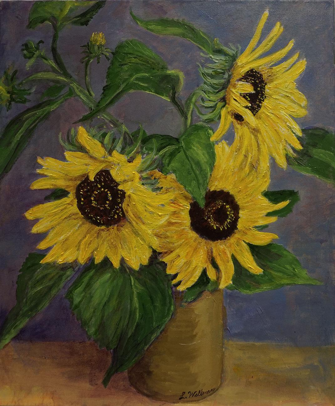 "Loraine Wellman, ""Sunflowers (Homage to Van Gogh)"", 2014, Acrylic on Canvas, 24 x 20 inches. Estimate: $500"
