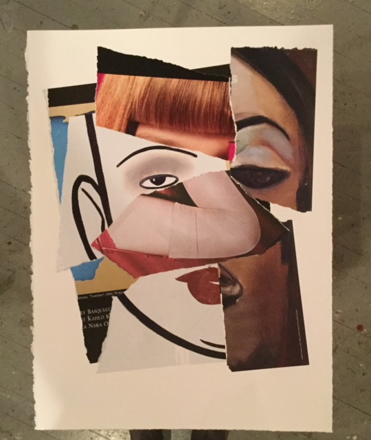 """Marcia Pitch, """"About Face"""", 2017, Mixed paper on rag paper, framed 11x15 inches. Estimate: $400"""