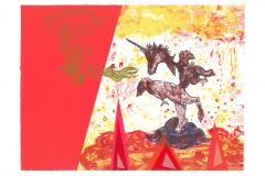 Diyan Achjadi, Betwixt and Between, 2016, lithography, 11.25 x 15.25, Value: $300 (framed)
